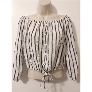 Passport Striped Buttoned Off The Shoulder Blouse
